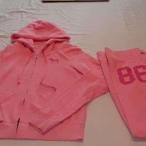 Pink Victoria secret pants and hoody set size medi